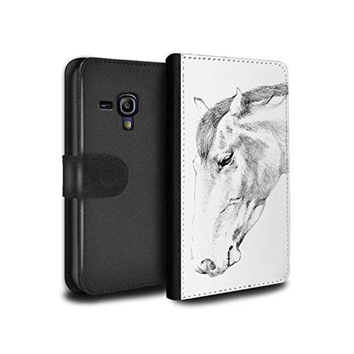 Stuff4® PU-Leder Hülle/Case/Tasche/Cover für Samsung Galaxy S3 Mini/Pferd Muster/Skizze Zeichnung Kollektion