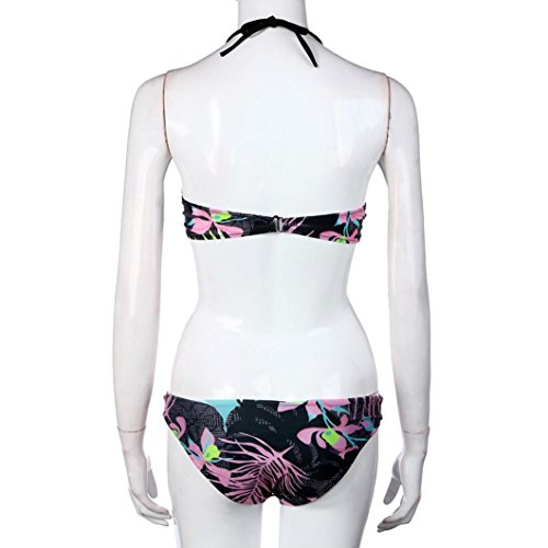 2017 Maillot de Bain, Xinan Femmes Swimwear Bikini Set Floral Bikini Noir