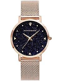 Alcentis – Reloj Elegante para Mujer de Malla milanesa Rosa Oro – Esfera analógica con Fondo