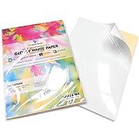 Folios adhesivos tamaño A4, imprimibles por la cara posterior, color blanco brillante; 50 unidades