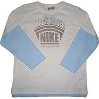 Nike manga larga camiseta Track Racer, manga larga parte superior de 100% algodón orgánico–Material Elástico–Azul claro de color blanco–tamaño Little Boys 'XL = 122–128cm/7–8años