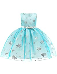 Selou Kleines Kind Weihnachten verkleiden sich Baby Mädchen Schneeflocke Prinzessin Farbkleid Bankett Kinderkleidung Weihnachtskleidung Kinder Abendkleid Minirock Ärmelloser Bogenrock Schwungrock