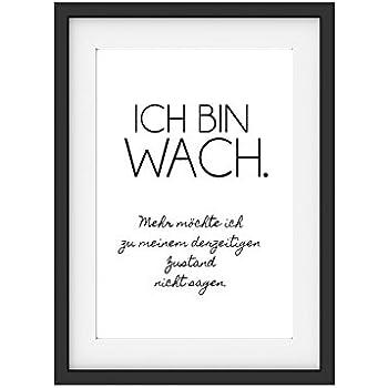 INTERLUXE Kunstdruck ICH BIN WACH Schlafzimmer Lustig