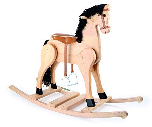 """*Schaukelpferd """"Deluxe"""" aus Massivholz, mit Steigbügeln einem gepolsterten Sattel, Holzgriffe sowie gebogene Kufen sorgen für ein sicheres Reitabenteuer, für kleine Pferdefreunde ab 3 Jahren*"""