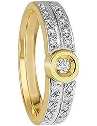 Diamond Line Damen - Ring 585er Gold 1 Diamant ca. 0,12 ct, gelbgold