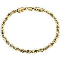 Trendsmax 4mm Donne Uomini Catena placcato oro giallo braccialetto di Copia il link - 4 Link Bracciale In Oro