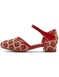 HROYL Niñas Zapatos de Baile/Zapatillas de Baile Latino estándar de satín Salón de Baile K-206