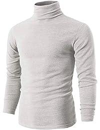 3e8f571d91 Romanstii Camiseta de Manga Larga para Hombre Jersey Básico de Algodón