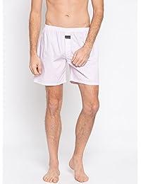 Nick & Jess Mens White & Pink Printed Cotton Boxer Shorts