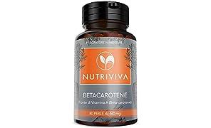NUTRIVIVA Beta carotene 80 perle da 460 mg | Alta disponibilità di ProVitamina A Antiossidante | Per un'abbronzatura più intensa e duratura