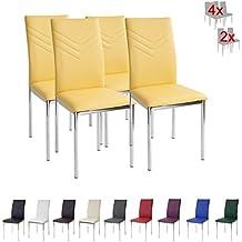 Albatros 2945 VERONA Set de 4 sillas de comedor, amarillo , pie de cromo, SGS tested