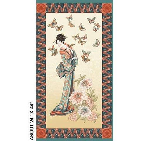 Casa de té verde antiguo Panel Geisha algodón tela que acolcha - 60 cm x 110 cm