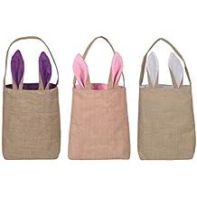 Paquete de 3 cestas de conejito de pascua Bolsas de pascua Bolsas de conejito de yute de arpillera 25 x 30 cm (Blanco + rosa + púrpura)