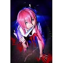 COSPLAZA - Peluca larga de pelo liso, color rosa para disfraz de cosplay