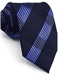 WZW Cravate Rétro Mignon Soirée Travail Décontracté Rayonne.Homme Géométrique.Bleu Toutes les Saisons