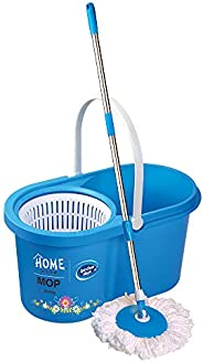 Home Line Plastic Cleaning Bucket Mop by Pratap (Blue)