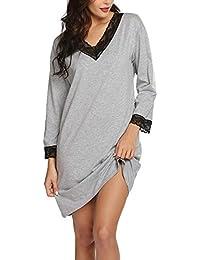 9c8b6c3d07695e Nachthemd Damen Nachtkleid warm Lang Schlafkleid Schwangere Schlafanzug  Langarmshirt Schlafshirt