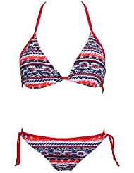 W23634 Triangel Bikini Set mit Gittern,3 Teilige