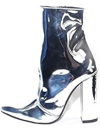 72adcd11033d Scarpe Donna Tronchetto Punta SPECCHIATO Argento Made in Italy Glamour Moda  Tacco Largo