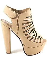 Soda puntera abierta plataforma de las mujeres grueso talón zapatos de Mve Manji cómodo