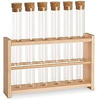 Tuuters Reagenzglasständer aus Holz | Reagenzglashalter | Inklusive Reagenzgläser ✓ Mit Press-Korken ✓ (Holzhalter XL)