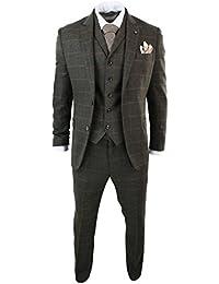 Costume 3 pièces homme tweed chevrons vert olive carreaux laine mélangée  style Peaky Blinders vintage a2a2ad7d1c13
