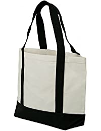 Two Tone Cotton Canvas Heavy Duty Tote Bag Black & Natural