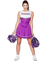 Ladies Purple High School Cheerleader Fancy Dress Costume