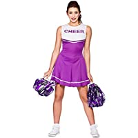 Wicked Costumes - Disfraz de animadora de instituto para mujer, color morado y blanco XS 34-36