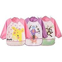 sohv Unisex Bambini Arts Craft pittura grembiule bambino impermeabile bavaglini con maniche e tasca, 6–36mesi, set di 3