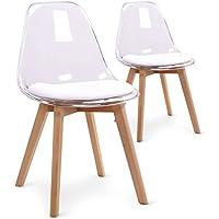 Menzzo Lot de 2 chaises scandinaves Bovary Plexi Blanc