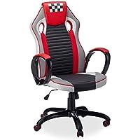 Relaxdays Silla Gaming Speed Racing, Piel Sintética, Rojo, 123 x 67 x 67 cm