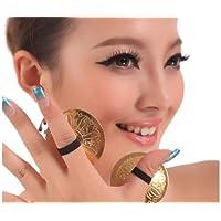 Wowlife 4pcs/2pares Profesional danza del vientre disfraz de danza oriental baile dedo Zills dedo Platillos para bailarina Noche Fiesta