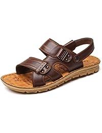 85cab57c0 TAZAN Sandalias Hombre Cuero Playa Verano Desgaste de Sandalias y  Zapatillas Deportivas de Cuero con Fondo