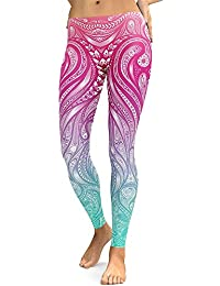 Ju-sheng Mujeres Mandala Flower 3D Legging de la impresión Digital Fitness Leggins Elastic Workout Plus Size Yoga Pants (Color : Pink, Size : L)