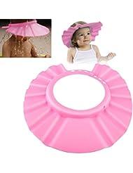 ChannelExpert Champú para bebé ajustable EVA baño gorro ducha baños baño protector ajustable Cap suave sombrero, rosa
