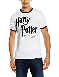 Harry Potter Deathly Hallows-Mens White/Black, T-Shirts Homme
