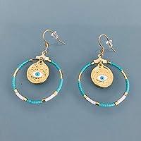 Pendientes de ojo griegos étnicos y perlas de miyuki, gema para mujer, criollos dorados, joya de mal de ojo, regalos de joyas, regalo de mujer, joya de mujer étnica