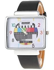 Belles montres, Motif de tv unisexe boîtier carré d'argent montre-bracelet PU bande de quartz
