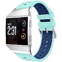 hkfv creativo único encantador diseño de moda estilo de jóvenes color deportes Fitbit lonic ventilar ligero silicona perforada accesorio deporte bandas para Fitbit Ionic excelente atractivo, MInt Green Blue