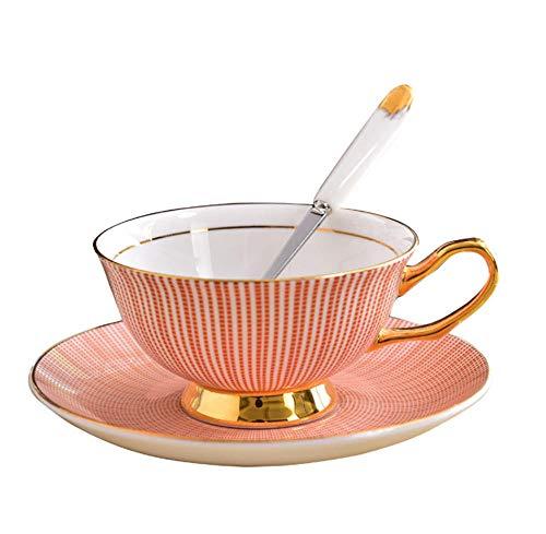 HYDWX European Bone China Cup Hochwertiger Nachmittagssnack Teetasse Keramikkaffeetasse Teller Rosa Vergoldet Mit Löffel