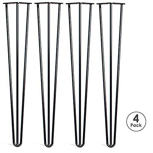 Locisne 4 Pack Haarnadel Tisch Beine Weld beschichtet Matt Schwarz Stahl 3 Ruten 28