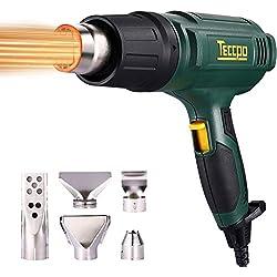 Pistolet à Air Chaud, Pistolet à thermique TECCPO 2000W 240V, 3 régulateurs de température (50 ° C à 600 ° C), volume de 500L / MIN, avec 5 accessoires -TAHG07P De TECCPO