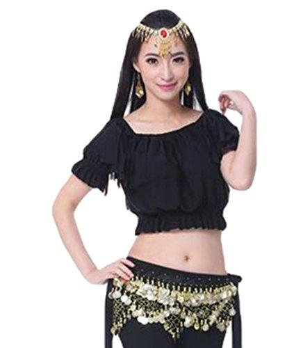 ZhiYuanAN Femmes 3Pcs Vêtements Danse Du Ventre Costume Tribal Tops & Pantalon Tribal & Chaîne à La Taille Noir