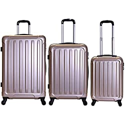 Slimbridge Valise Rigide à roulettes pivotantes de qualité supérieure avec Serrure intégrée - Ensemble Lot de 3 valises rigides pièces, Lydd Or