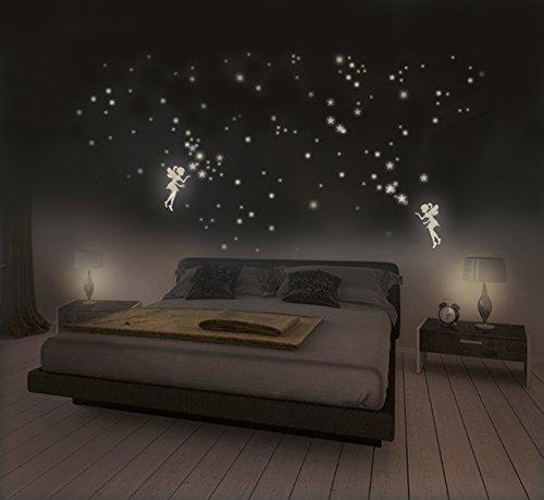 Leuchtaufkleber Elfen mit Sternen und Leuchtpunkten für Sternenhimmel, fluoreszierend und im Dunkeln leuchtend, extra starke Leuchtkraft und lange Leuchtzeit, 2 Elfen + 316 Sterne und Punkte