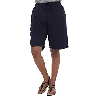 EASY 2 WEAR ® Womens Jersey Shorts (Size S to 4XL) Loose and Long Fit. Col : Navy Blue