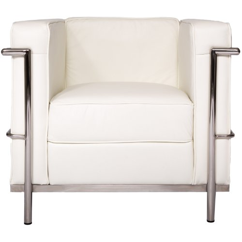 Le Corbusier Style LC2 Lounge-Sessel, Sessel, Sofa (1 Sitz), Kissen mit rostfreiem Stahlrahmen, echtes Leder, Weiß