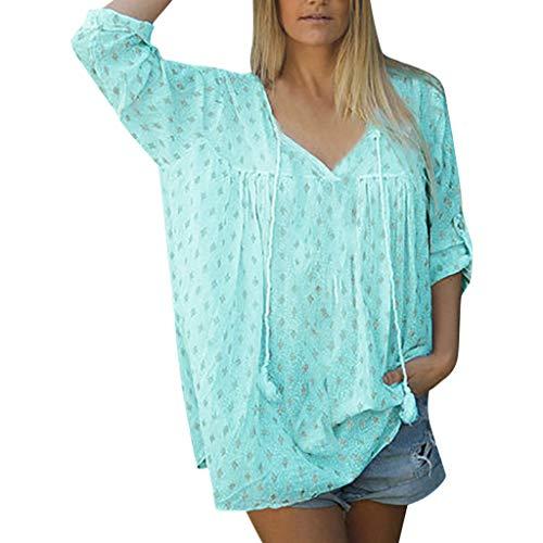 Vimoli T-Shirt Damenmode Sommer Tops Frauen Lose Beiläufige Halbe Hülse Mit V-Ausschnitt Bedruckte Shirts Blusen Shirt Tees Bodies(Blau Natürlich,L)