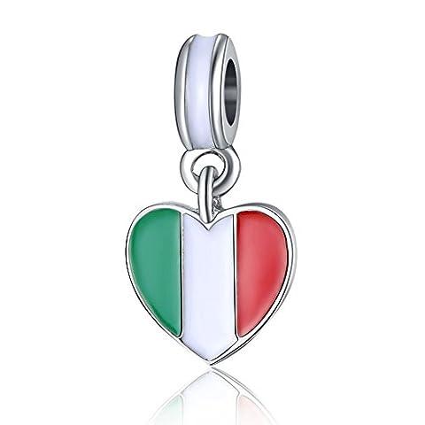 Waya Perles Drapeau de l'Italie Cœur Bracelet Charms pour bracelet Pendentif Collier Argent Serpent Bijoux